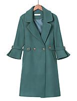 Недорогие -Жен. Большие размеры Пальто Однотонный, Шерсть
