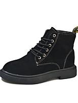 Недорогие -Жен. Ботильоны Полиуретан Осень На каждый день Ботинки На низком каблуке Круглый носок Ботинки Черный / Хаки