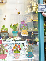 cheap -Window Film & Stickers Decoration Floral / Contemporary Floral / Cities PVC(PolyVinyl Chloride) Window Sticker / Lovely / Shop / Cafe