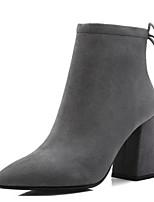 abordables -Femme Botillons Daim Hiver Chaussures à Talons Talon Bottier Bout pointu Bottine / Demi Botte Fleur en Satin Noir / Gris / Brun Foncé