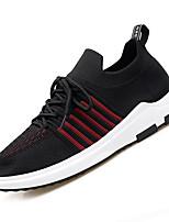 Недорогие -Муж. Комфортная обувь Сетка / Эластичная ткань Осень На каждый день Кеды Нескользкий Контрастных цветов Черный / Черный / Красный