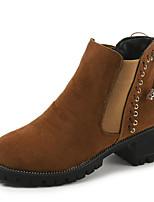 Недорогие -Жен. Армейские ботинки Полиуретан Осень Ботинки На низком каблуке Круглый носок Черный / Темно-коричневый