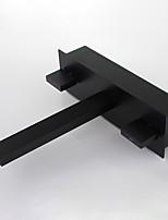 Недорогие -Ванная раковина кран - Широко распространенный / Новый дизайн черный На стену Две ручки одно отверстие