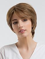 Недорогие -Человеческие волосы без парики Натуральные волосы Естественные волны Стрижка под мальчика Природные волосы Коричневый Без шапочки-основы Парик Жен. На каждый день