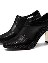 Недорогие -Жен. Fashion Boots Замша / Овчина Осень Ботинки На толстом каблуке Закрытый мыс Ботинки Черный