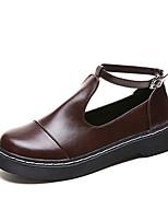 Недорогие -Жен. Комфортная обувь Полиуретан Осень На каждый день Обувь на каблуках На низком каблуке Круглый носок Черный / Коричневый / Повседневные