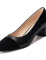 Недорогие -Жен. Балетки Полиуретан Осень Обувь на каблуках На толстом каблуке Круглый носок Черный / Бежевый / Повседневные