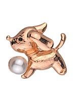 Недорогие -Жен. Классический Броши - Искусственный жемчуг Собаки Милая, Мода Брошь Золотой Назначение Свидание / Для улицы