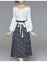 cheap -Women's Basic Set - Polka Dot, Lace up / Patchwork Skirt