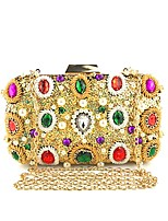 cheap -Women's Bags Polyester / Alloy Evening Bag Sequin / Crystals Floral Print Gold