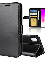 cheap -Case For Apple iPhone XS / iPhone XS Max Wallet / Card Holder / Flip Full Body Cases Solid Colored Hard PU Leather for iPhone XS / iPhone XR / iPhone XS Max