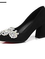 Недорогие -Жен. Балетки Замша Весна Обувь на каблуках На толстом каблуке Черный / Красный