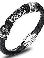 baratos -Homens Com Corte Pulseiras de couro tear Bracelet - Aço Titânio, Pedaço de Platina Fé Vintage, Temática Asiática Pulseiras Preto Para Aniversário Rua