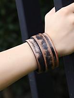 abordables -Homme Effets superposés / Rétro Bracelets Vintage / Bracelets en cuir - Cuir Créatif Elégant, Rétro, Punk Bracelet Marron Pour Quotidien / Plein Air