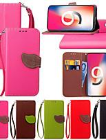 Недорогие -Кейс для Назначение Apple iPhone XS / iPhone XR / iPhone XS Max Кошелек / Бумажник для карт / со стендом Чехол Однотонный Твердый Кожа PU для iPhone XS / iPhone XR / iPhone XS Max