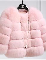 Недорогие -Жен. Пальто с мехом Изысканный - Однотонный