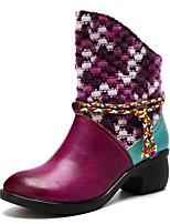 Недорогие -Жен. Комфортная обувь Кожа Зима Ботинки На низком каблуке Сапоги до середины икры Лиловый