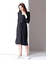 baratos -Mulheres Básico Evasê Vestido - Patchwork, Poá Médio