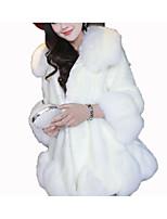 Недорогие -Жен. Пальто с мехом Рубашечный воротник Однотонный, Искусственный мех
