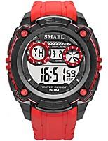 Недорогие -SMAEL Муж. Спортивные часы Японский Цифровой 50 m Защита от влаги Календарь Фосфоресцирующий силиконовый Группа Цифровой Мода Черный / Красный - Черный Черный / Красный