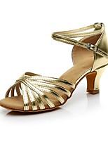 abordables -Femme Chaussures Latines Polyuréthane Talon Talon Cubain Personnalisables Chaussures de danse Or / Argent