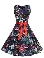 Недорогие -Жен. Уличный стиль / Элегантный стиль Оболочка Платье - Цветочный принт, С принтом До колена Роуз
