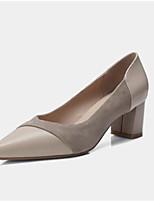 baratos -Mulheres Sapatos Confortáveis Pele Napa Verão Saltos Salto Robusto Preto / Amêndoa
