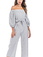 cheap -women's romper - striped wide leg strapless