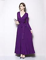 Недорогие -Жен. Классический / Элегантный стиль Оболочка Платье - Однотонный, Шнуровка Макси