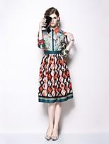 Недорогие -Жен. Классический А-силуэт / Оболочка Платье С принтом Средней длины