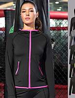 cheap -Women's Pocket Track Jacket - Green, Blue, Grey Sports Stripe Hoodie Yoga, Running, Fitness Long Sleeve Activewear Windproof, Breathable, Soft Stretchy
