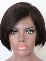 Недорогие -Remy Полностью ленточные Парик Бразильские волосы Естественные кудри Парик Стрижка боб / Стрижка каскад 130% Природные волосы / Боковая часть / Парик в афро-американском стиле Нейтральный Жен.