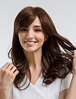 cheap -Human Hair Capless Wigs Human Hair Curly Side Part Natural Hairline Dark Brown Capless Wig Women's Daily Wear