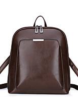 Недорогие -Универсальные Мешки PU рюкзак Молнии Сплошной цвет Коричневый / Черный