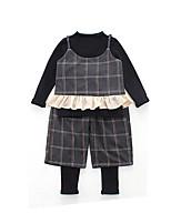 Недорогие -Дети Девочки Геометрический принт Длинный рукав Набор одежды