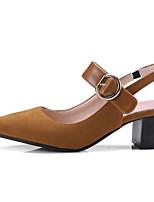Недорогие -Жен. Комфортная обувь Полиуретан Лето Обувь на каблуках На толстом каблуке Черный / Темно-коричневый