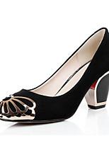Недорогие -Жен. Комфортная обувь Овчина Весна Обувь на каблуках На толстом каблуке Черный / Синий