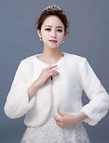 cheap -Long Sleeve Faux Fur Wedding / Party / Evening Women's Wrap With Splicing Coats / Jackets