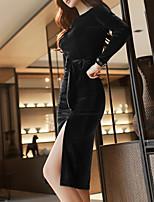 Недорогие -Жен. Большие размеры Для вечеринок / Офис Винтаж / Элегантный стиль Тонкие Оболочка Платье - Однотонный До колена
