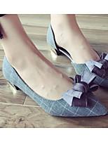 Недорогие -Жен. Комфортная обувь Полиэстер Весна & осень Обувь на каблуках На толстом каблуке Черный / Серый