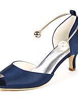 abordables -Femme Chaussures D'Orsay Talon & Pointe Satin Printemps été Minimalisme Chaussures de mariage Kitten Heel Bout ouvert Imitation Perle Bleu royal / Champagne / Ivoire / Mariage / Soirée & Evénement