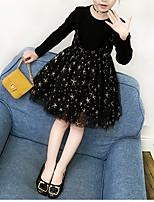 Недорогие -Дети Девочки Активный / Милая Галактика Длинный рукав Платье Черный 100