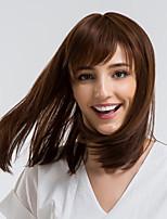 Недорогие -Человеческие волосы без парики Натуральные волосы Прямой Стрижка боб Природные волосы Коричневый Без шапочки-основы Парик Жен. На каждый день