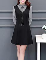 preiswerte -Damen Grundlegend A-Linie / Hülle Kleid - mit Schnürung / Patchwork, Solide / Einfarbig Knielang