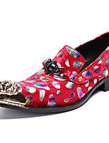 Недорогие -Муж. Официальная обувь Наппа Leather Осень Английский Туфли на шнуровке Нескользкий Красный / Стразы / Для вечеринки / ужина