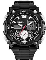 Недорогие -SMAEL Муж. Спортивные часы Японский Цифровой 30 m Защита от влаги Календарь Секундомер Plastic Группа Аналого-цифровые Мода Черный - Черный Черный / Синий