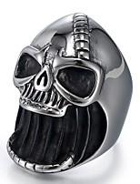 abordables -Homme Le style rétro Sculpture Bague - Acier au titane Crâne Elégant, Rétro, Punk 8 / 9 / 10 / 11 / 12 Argent Pour Plein Air Soirée