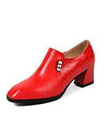 Недорогие -Жен. Балетки Овчина Осень Обувь на каблуках На толстом каблуке Черный / Красный