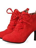 Недорогие -Жен. Fashion Boots Замша / Синтетика Осень Ботинки На шпильке Закрытый мыс Ботинки Желтый / Красный / Миндальный