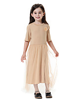 cheap -Kids Girls' Boho Solid Colored Half Sleeve Maxi Dress